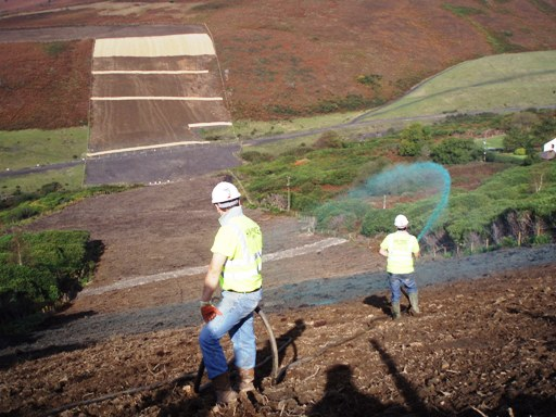 Hydroseeding in an area prone to soil erosion
