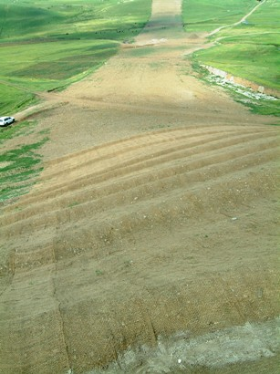 Jute matting of a steep slope prone to erosion