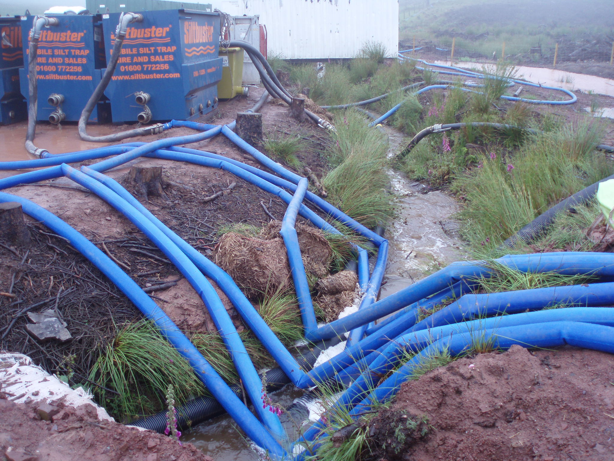 Extensive pumping & siltbusters to cope with excess water