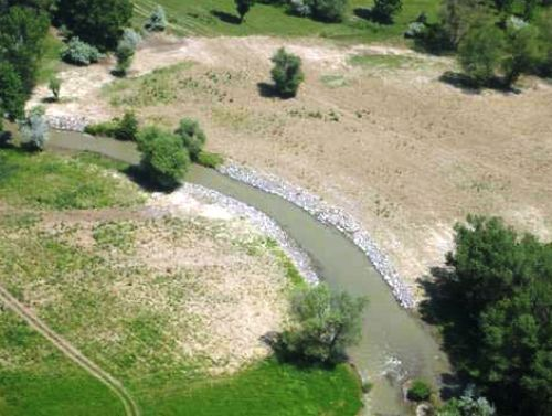 Aerial view of a reinstated river supervised by Andy Huckbody