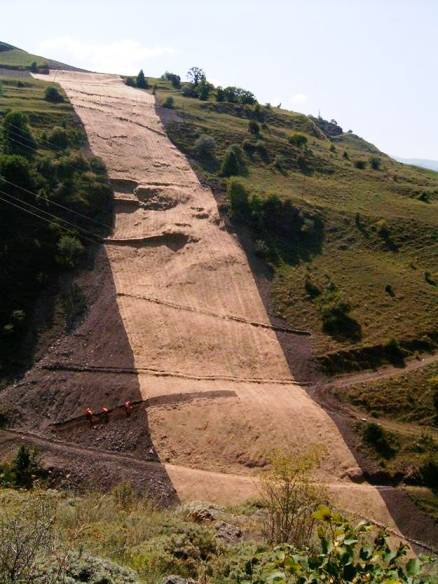 Jute matting on a steep slope in the Caucasus
